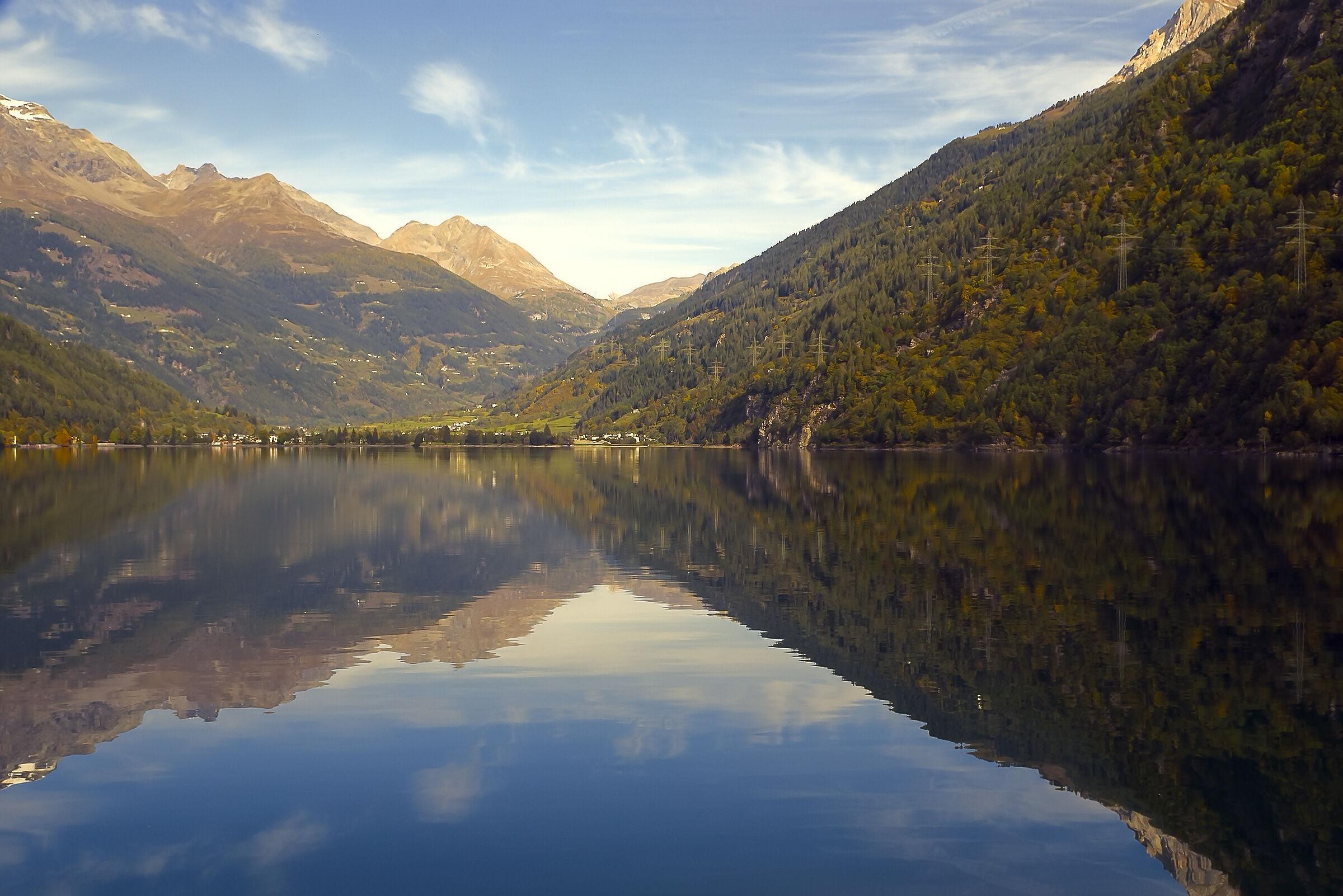 Reflections on Lake Do Poschiavo (Switzerland)...