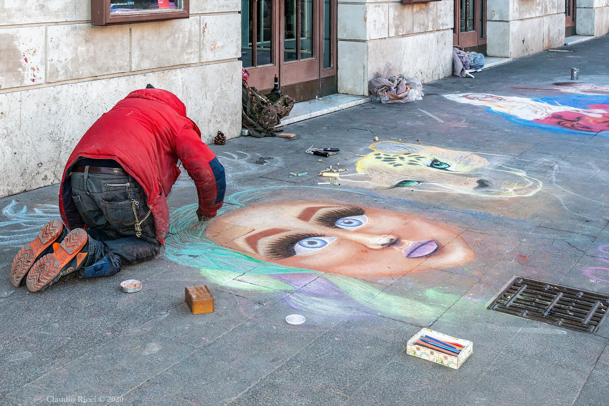 Street Artists, Rome, January 6, 2020...