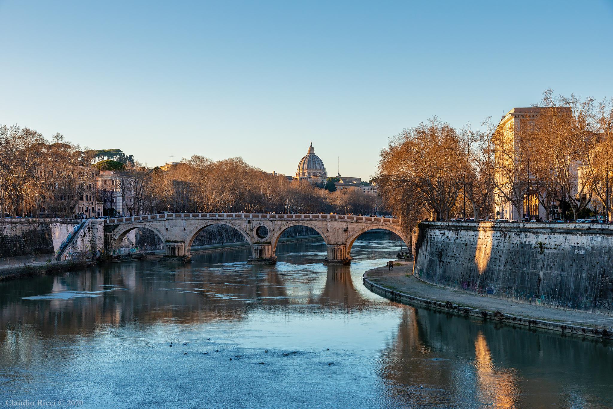 View from Ponte Garibaldi, Rome, 6 January 2020...