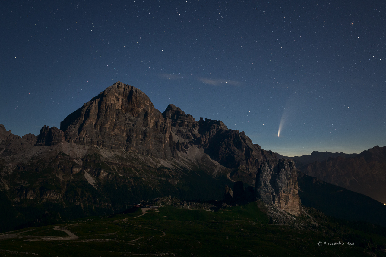 Comet Neowise and the Tofane, Dolomites...