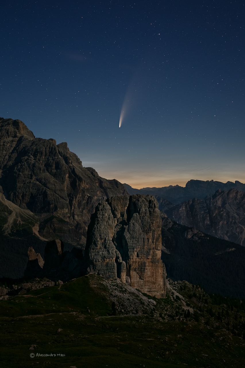 The comet Neowise above the 5 Towers, Dolomites...