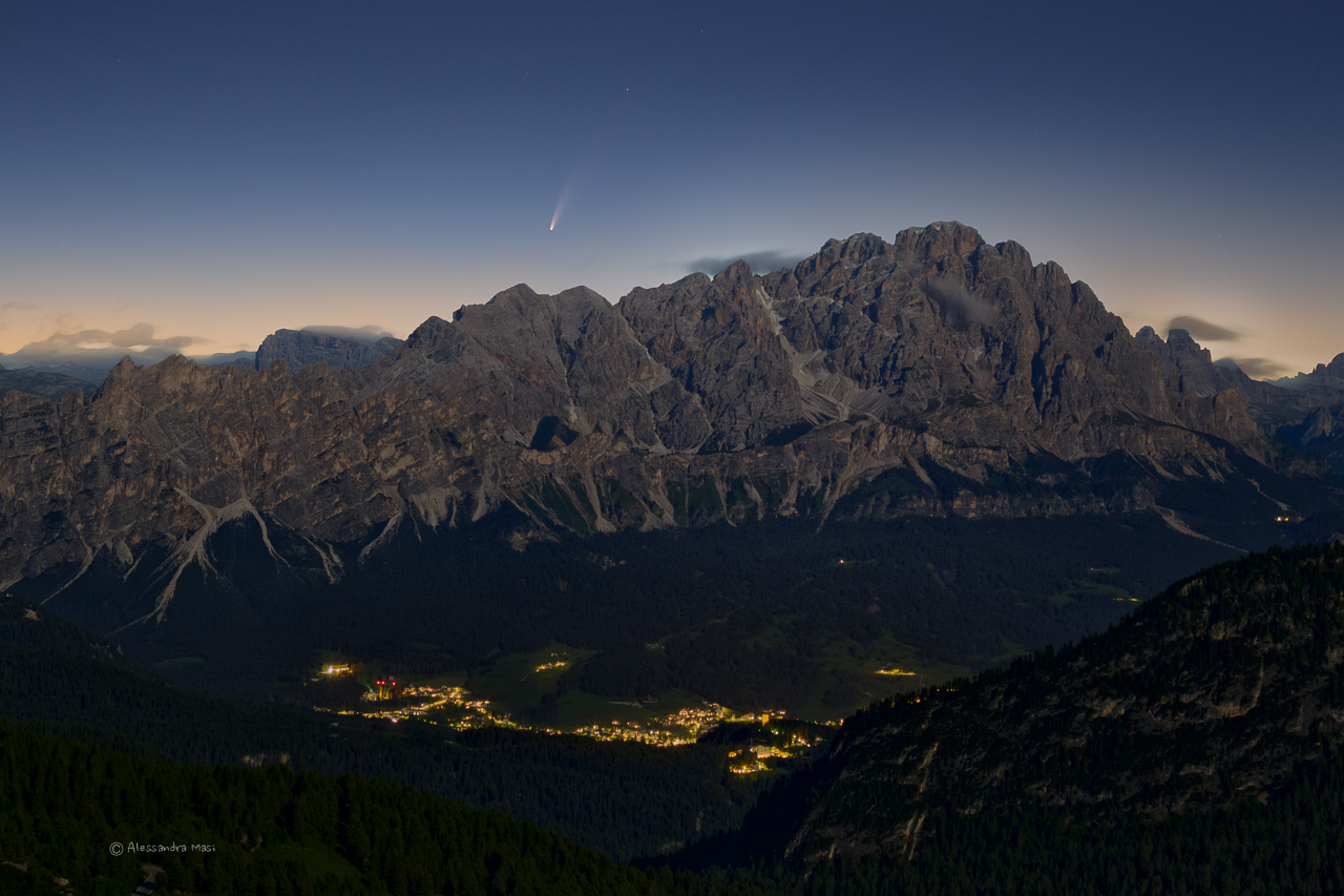 The comet Neowise above Cortina d'Ampezzo, Dolomites...