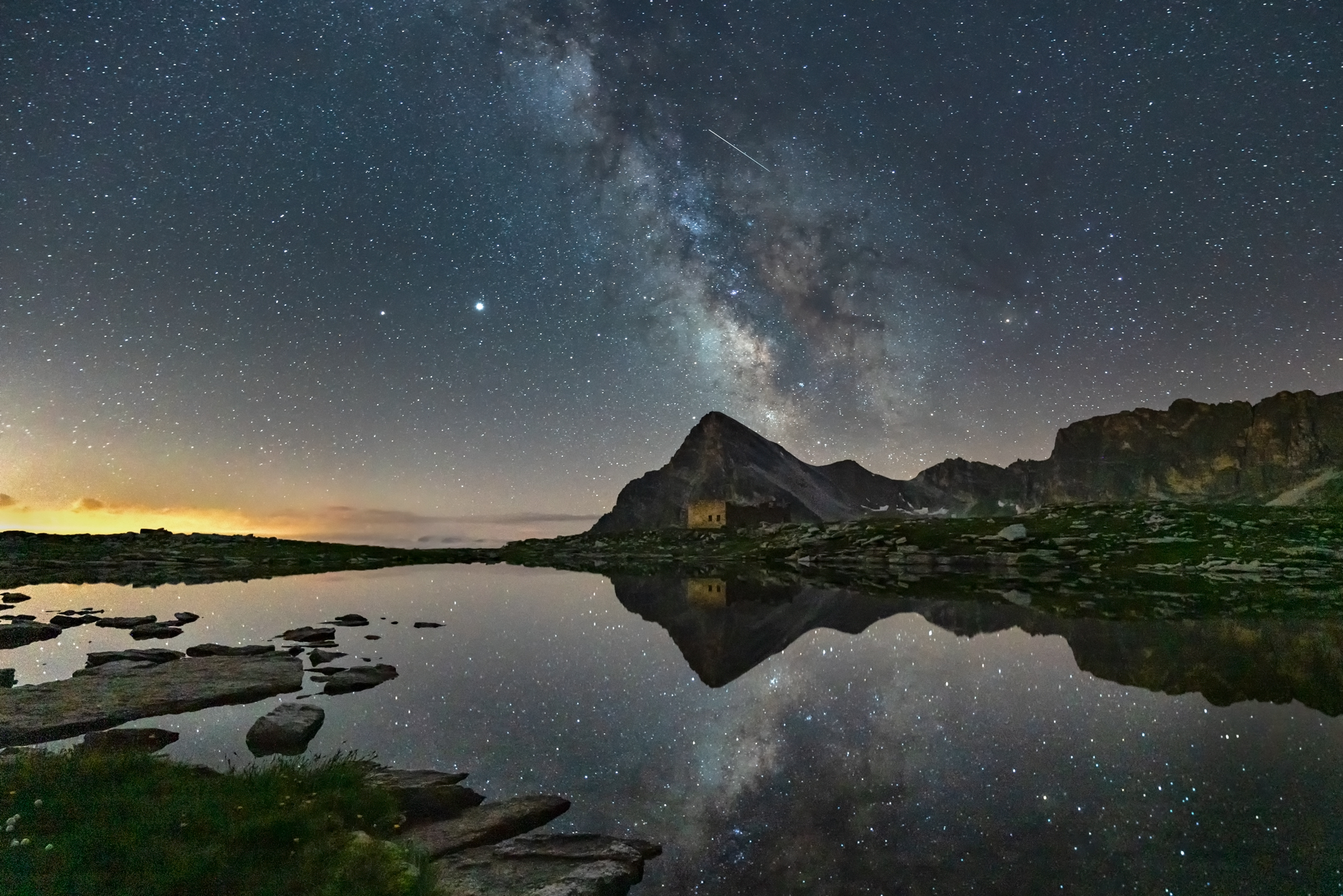 Lake Camoscere, Mount Chersogno and Milky Way...